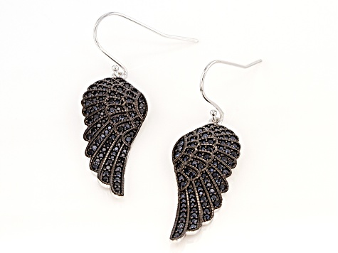Black spinel rhodium over sterling silver angel wings dangle earrings 1.39ctw