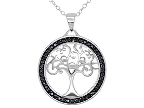 Black spinel rhodium over sterling silver Tree of Life pendant with chain 0.40ctw