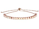 Multi Color Ethiopian Opal 18k Rose Gold Over Sterling Silver Adjustable Bolo Bracelet 2.80ctw