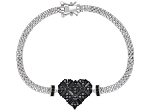 Black spinel rhodium over sterling silver heart bracelet 2.06ctw