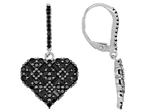 Round and Baguette Black Spinel Rhodium Over Sterling Silver Heart Earrings 2.80ctw