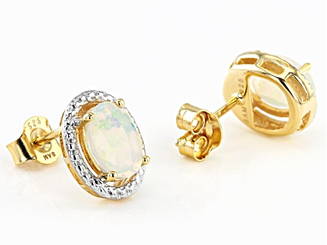 Multicolor Ethiopian Opal 18k Yellow Gold Over Silver Stud Earrings