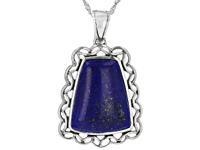 Blue lapis rhodium over silver enhancer with chain