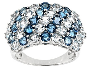 Blue Topaz Rhodium Over Silver Band Ring 4.30ctw