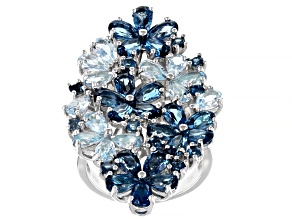 Blue Topaz Rhodium Over Silver Flower Ring 6.18ctw