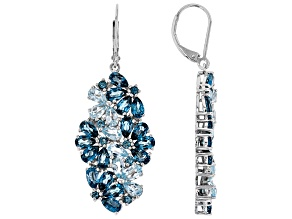 Blue Topaz Rhodium Over Silver Earrings 9.80ctw