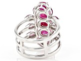 Red Ruby Rhodium Over Sterling Silver Ring 3.22ctw