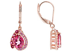 Pink Topaz 18k Rose Gold Over Silver Dangle Earrings 2.97ctw