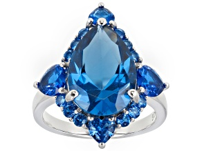 Blue Lab Created Spinel Rhodium Over Silver Ring 7.17ctw