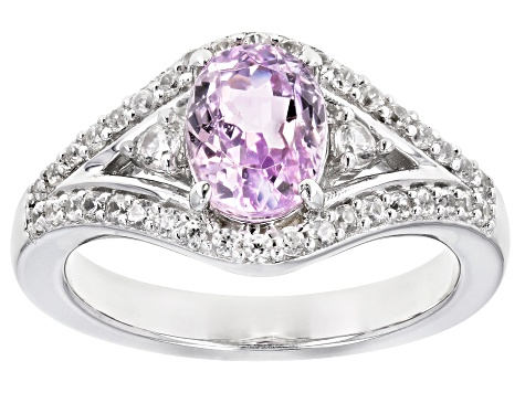 Pink Kunzite Rhodium Over Silver Ring 2.02ctw