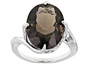Brown Smoky Quartz Rhodium Over Silver Ring 7.82ct