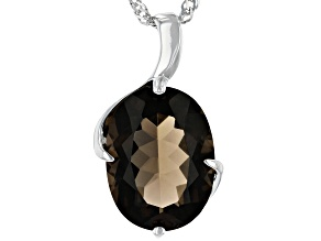 Brown Smoky Quartz Rhodium Over Silver Pendant With Chain 7.82ct