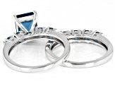 London Blue Topaz Rhodium Over Silver 2 Ring Set 3.29ctw