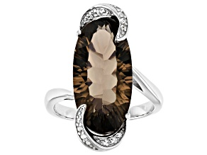 Brown Smoky Quartz Rhodium Over Silver Ring 6.89ctw