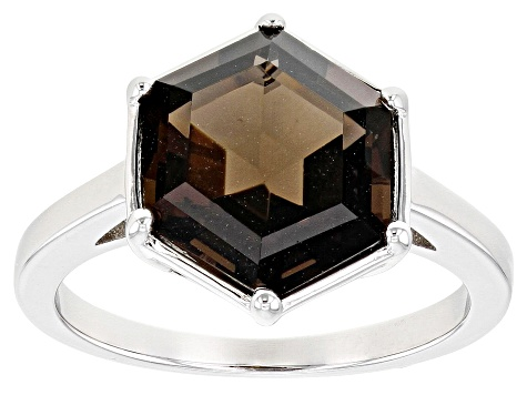 Brown Smoky Quartz Rhodium Over Sterling Silver Ring 3.83ct