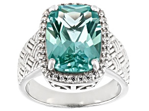 Green Lab Created Spinel Rhodium Over Silver Ring 6.58ctw