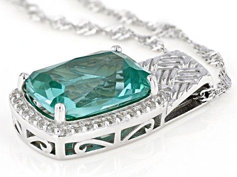 Green Lab Created Spinel Rhodium Over Silver Pendant With Chain 6.58ctw