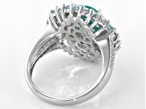 Green Lab Created Spinel Rhodium Over Silver Ring 5.21ctw