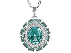 Green Lab Created Spinel Rhodium Over Silver Pendant With Chain 4.99ctw