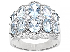 Blue Aquamarine Rhodium Over Silver Band Ring 4.03ctw
