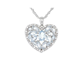 Blue Aquamarine Rhodium Over Silver Heart Pendant With Chain 2.56ctw