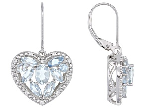 Blue Aquamarine Rhodium Over Silver Heart Earrings 2.39ctw