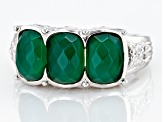 Green onyx rhodium over sterling silver 3-stone ring 2.32ctw