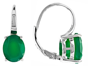 Green onyx rhodium over sterling silver earrings 4.45ctw