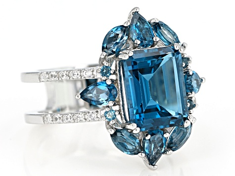 London Blue Topaz Rhodium Over Silver Ring 5.30ctw
