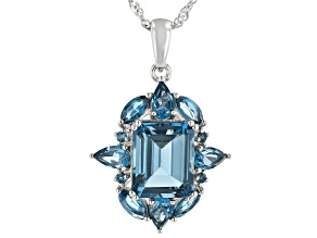 London Blue Topaz Rhodium Over Silver Pendant With Chain 5.11ctw