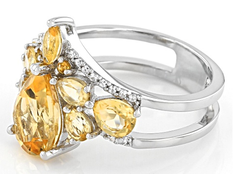 Yellow Citrine Rhodium Over Silver Ring 2.96ctw