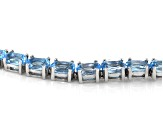 Swiss Blue topaz Rhodium over Sterling Silver Tennis Bracelet 14.50ctw