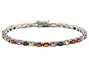 Multi tourmaline Sterling Silver Tennis Bracelet 6.30ctw