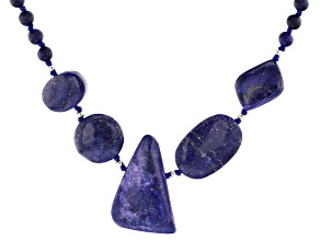 Blue Lapis Lazuli Rhodium Over Sterling Silver Bead Necklace