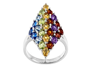 Multi-color Gemstone Rhodium Over Silver Ring 3.38ctw