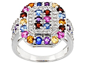 Multi-Color Gemstone Rhodium Over Silver Quad Ring 2.39ctw