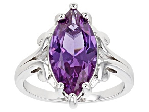 Purple Lab Created Color Change Sapphire Rhodium Over Silver Ring 5.03ctw