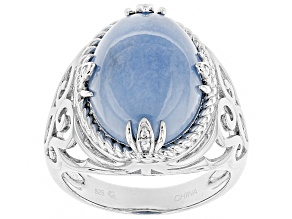 Blue Angelite Sterling Silver Solitaire Ring