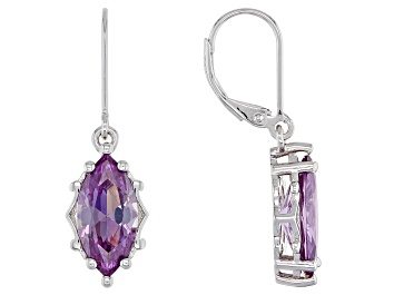Picture of Purple Lab Created Color Change Sapphire Rhodium Over Silver Earrings 6.80ctw
