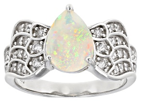 Multi-Color Ethiopian Opal Rhodium Over Silver Ring 1.60ctw