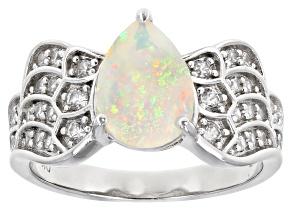 Multi-Color Ethiopian Opal Rhodium Over Silver Ring 1.60ctw