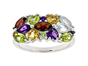 Multi-Gemstone Rhodium Over Sterling Silver Ring 2.60ctw