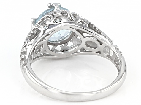 Blue aquamarine rhodium over sterling silver solitaire ring 1.56ct