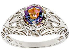 Multicolor Northern Lights(TM) Quartz Rhodium Over Silver Solitaire Ring 1.37ct