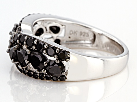 Black Spinel Rhodium Over Silver Band Ring 2.00ctw
