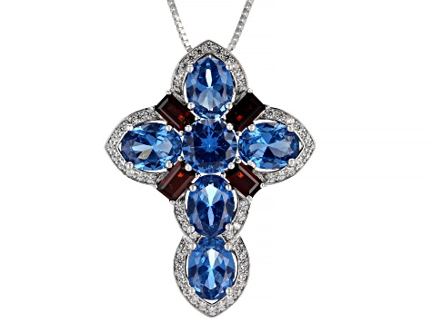 Blue Lab Created Spinel Rhodium Over Silver Cross Pendant With Chain 8.71ctw