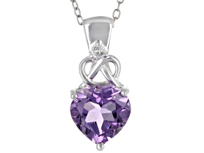 Purple Amethyst Rhodium Over Silver Pendant With Chain 2.15ctw