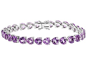 Purple Amethyst Rhodium Over Silver Bracelet 18.20ctw