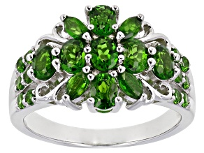 Green chrome diopside rhodium over sterling silver ring 1.70ctw
