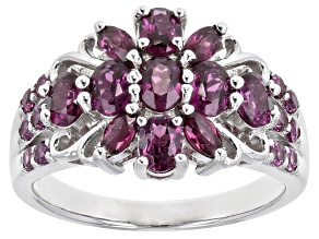 Purple Raspberry Color rhodolite rhodium over sterling silver ring 1.86ctw